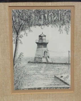 Pen and Ink - Saugeen River Lighthouse - By John Geerts - Great Canadiana