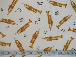 1/2 yd Music/Trumpet horns instruments on ivory quilt fabric -free shipping
