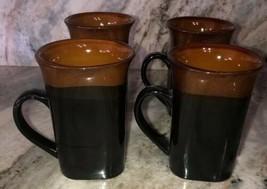 Royal Norfolk Black/Brown Stoneware Coffee Mugs Dinnerware Cups-Set Of 4-SHIP24H - $39.48