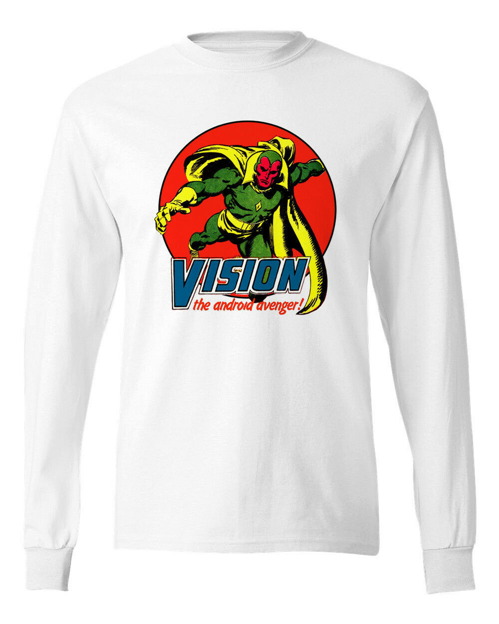 Vision Long Sleeve T-shirt  Marvel Comics 100% cotton graphic tee superhero