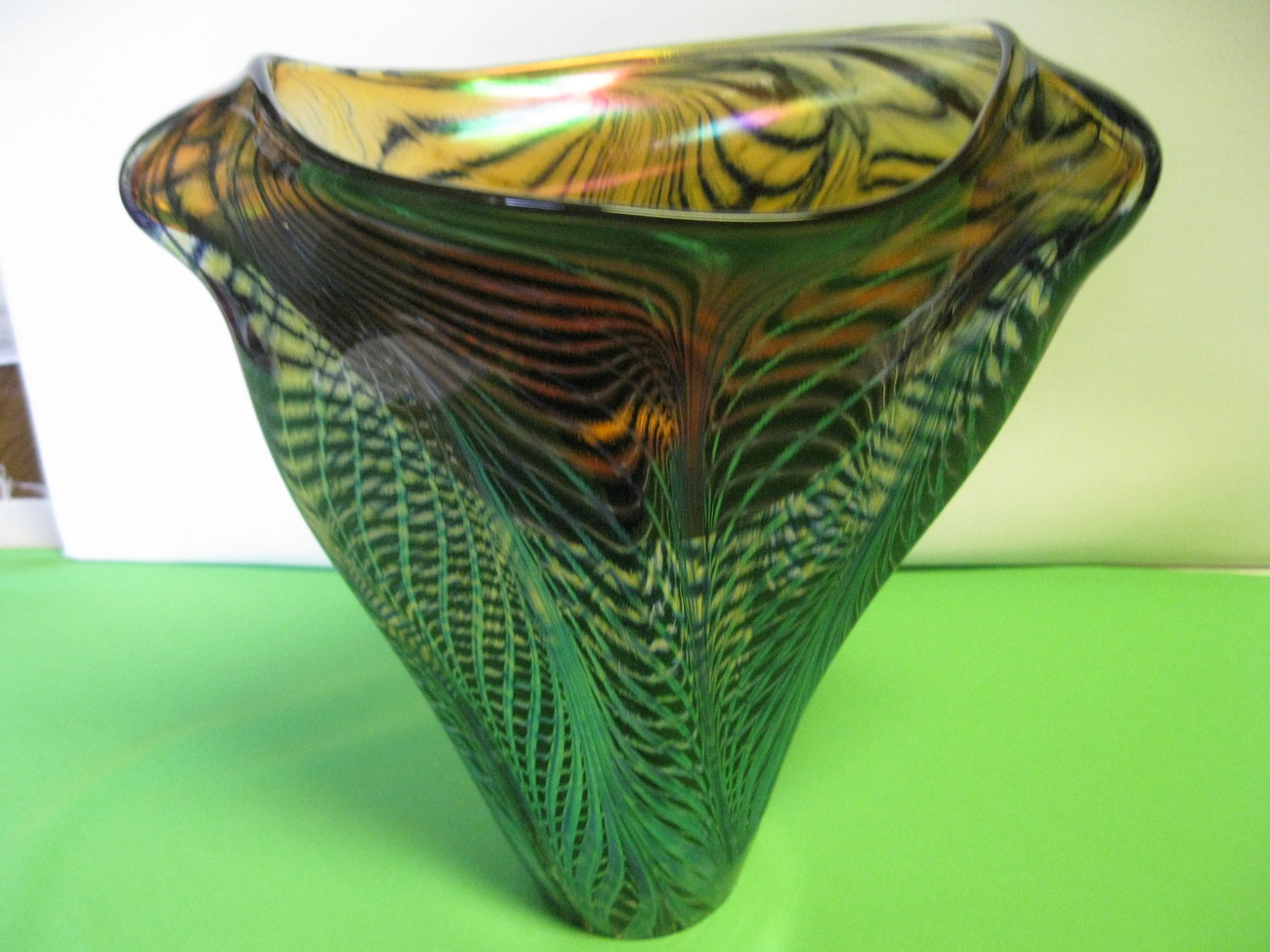 "Lotton Art Glass Webbed Design Blue Black Amber Iridescent 10"" Vase signed David"