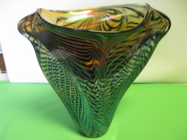 Lotton Art Glass Webbed Design Blue Black Amber... - $2,199.99