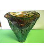 "Lotton Art Glass Webbed Design Blue Black Amber Iridescent 10"" Vase sign... - $2,199.99"