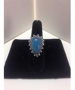 CHALCEDONY Silver Plate Teardrop Ladies Ring Sz... - $9.79