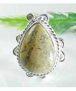 PICTURE JASPER Teardrop Silver Plate Ladies Rin... - $9.79
