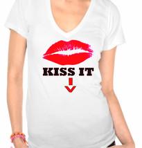 Kiss It, Kiss Lips Ladies V-Neck T-Shirt - $12.00
