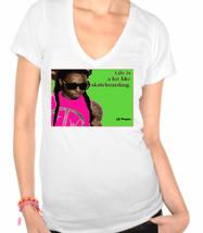Lil Wayne Life is like skateboarding, Rapper,Hip Hop Ladies V-Neck T-Shirt - $12.00