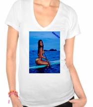 Rihanna Sexy canoeing on surf board,Pop Star,R&B Singer Ladies V-Neck T-Shirt - $12.00