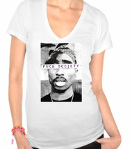 Tupac F*ck Society,Rapper,Hip Hop,Thug Life Ladies V-Neck T-Shirt - $12.00