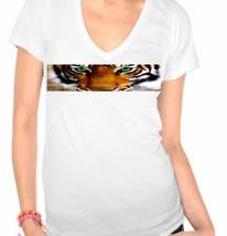Tiger,Eye of the Tiger,Animal Print Ladies V-Neck T-Shirt - $12.00