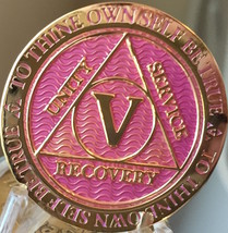 5 Year AA Medallion Lavender Pink Gold Alcoholics Anonymous Sobriety Chi... - $17.99