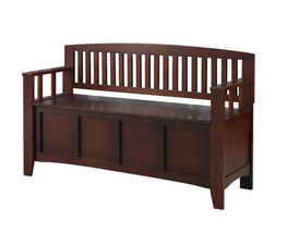 Walnut Storage Bench Furniture Home Decor Storage Wood Seating For Foyer... - $182.15