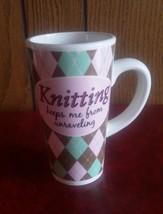 Vtg Funny Knitting Coffee Mug 16 Oz gift knitte... - $17.74