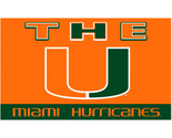 Sports Banner Miami Hurricanes Team Logo 3 Ft. X 5 Ft. Flag With Grommets 95131