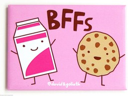 "Cookies & Milk ""BFFs"" FRIDGE MAGNET chocolate c... - $6.25"
