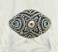 .925 Sterling Silver Filigree Dual Tone Dome Ring 7.5 Vintage - $29.69
