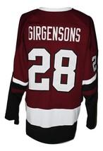 Zemgus Girgensons #28 Team Latvia Custom Hockey Jersey New Sewn Maroon Any Size image 2