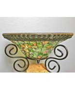 "Glass Mosiac Bowl Greens and Golds on Metal Stand 10"" Diameter - $24.00"