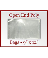 100 Open End Poly Bags 9 x 12 inches USDA FDA Approved 2 mil - $15.98