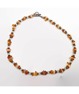Amber & Quartz Chip Sterling Silver Necklace  - $13.58