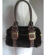Kathy Van Zeeland Handbag Purse Brown Faux Fur & Leather w Gold Buckles - $39.55