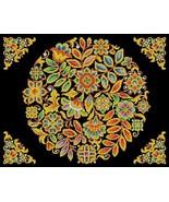 Cross Stitch Antique Tapestry Folk Art Floral Round Décor Multicolored D... - $10.00