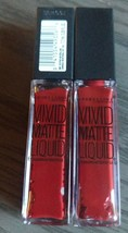 Two Maybelline Color Sensational Vivid Matte Lipstick 36 Red Punch - $9.49