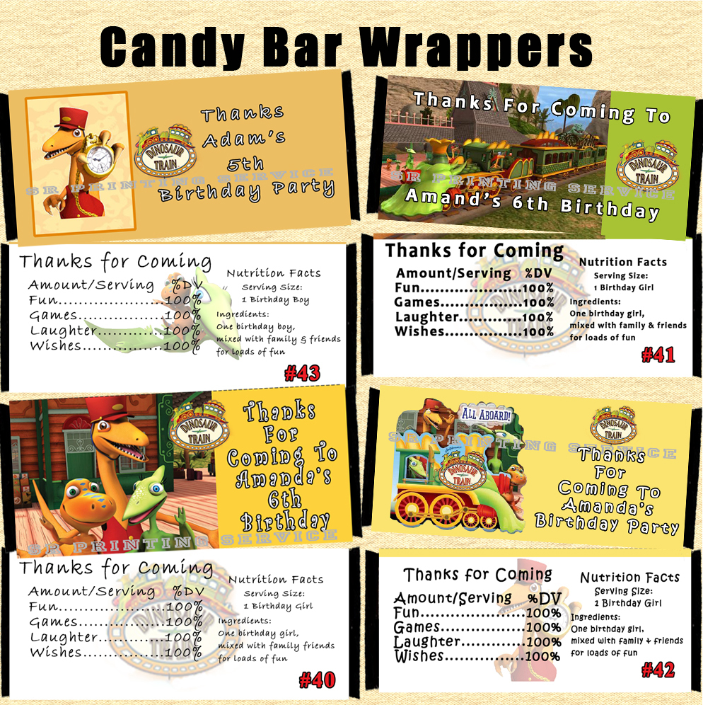 Dinosaur Train Birthday Candy Wrappers 10 each Personalized Custom Made
