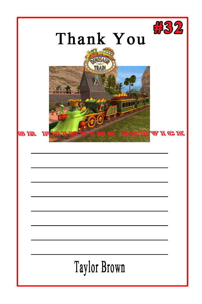Dinosaur Train Birthday Thank You Cards 10 each Personalized Custom Made
