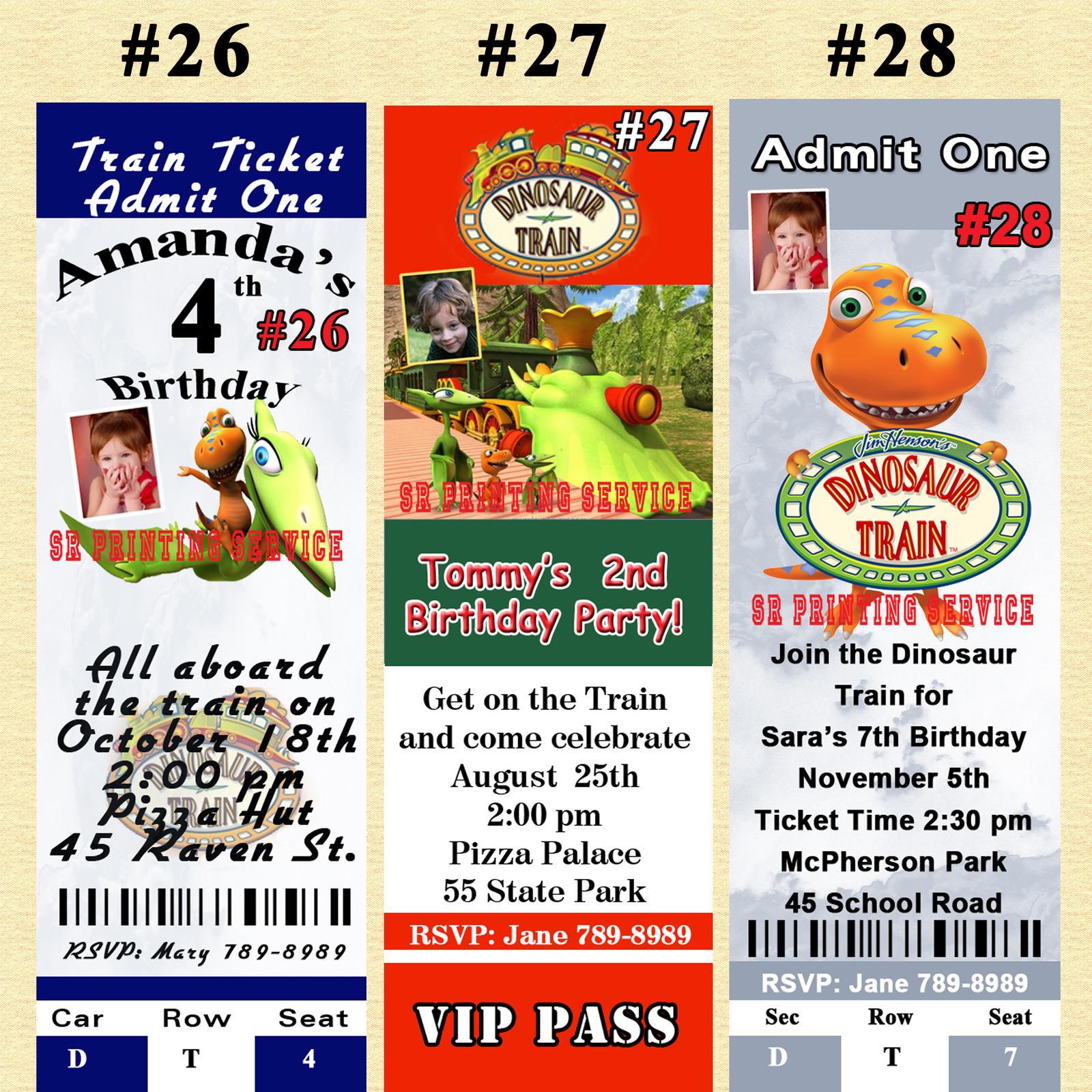 Dinosaur Train Birthday Invitations 10 each with Envelopes Personalized