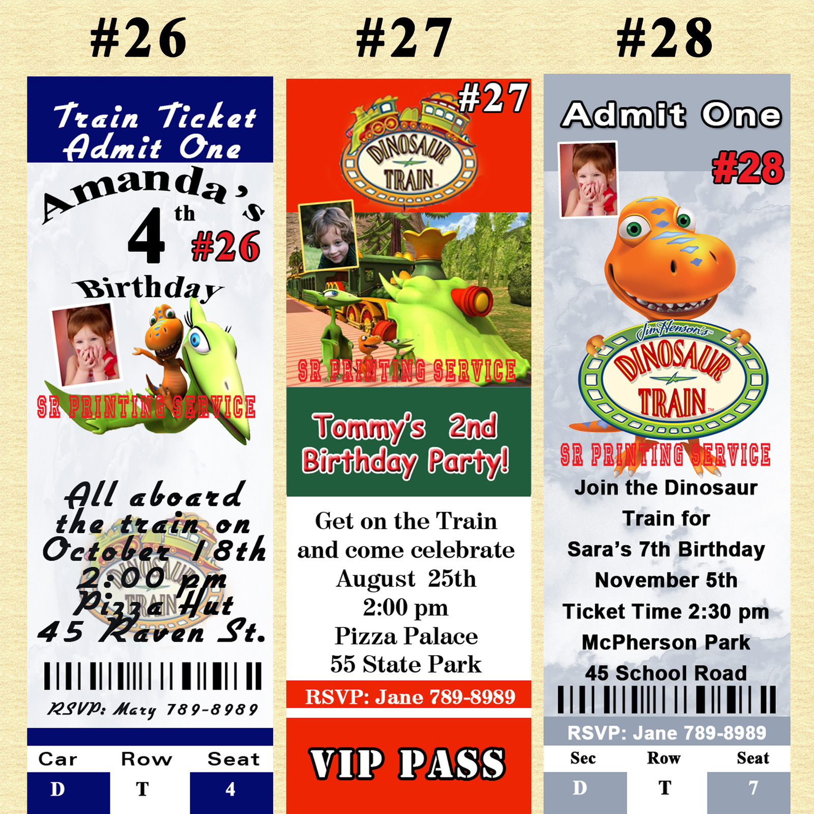Dinosaur Train Birthday Invitation You Print Digital File 1 ea Personalized