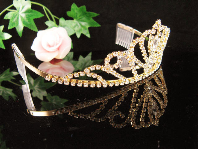 GOLDEN WEDDING CRYSTAL TIARA,RHINESTONE REGAL,BRIDAL HAIR ACCESSORIES COMB 250g
