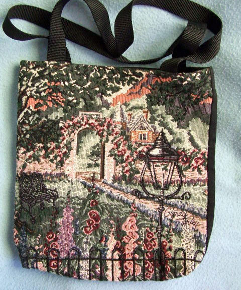 Handmade Tapestry Bag-greens 11 X 12inches