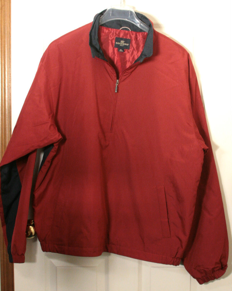 DOCKERS 3/4 ZIP PULLOVER WINDBREAKER GOLF JACKET COAT SCARLET RED NAVY XL