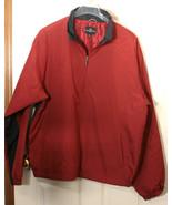 DOCKERS 3/4 ZIP PULLOVER WINDBREAKER GOLF JACKET COAT SCARLET RED NAVY XL - $14.34