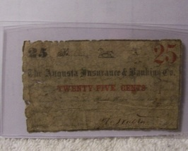 Confederate The Augusta Insurance & banking Co. 25c Note - $15.50