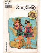 Simplicity 8647 Sewing Pattern Uncut Girls' Romper and Skirt Size 12 Saf... - $5.00