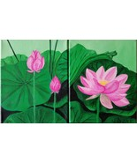 Two Original Acrylic Painting Lotus Blossom and Buds Canvas, Home Decor - $56.00