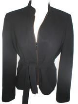 Calvin Klein black zip front belted Wool Jacket 4 - $49.95