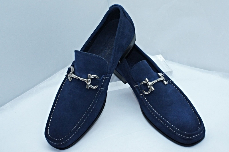 7ff3c309cb0 SALVATORE FERRAGAMO Giordano Blue Ink Suede Leather Gancini Bit Loafer Shoes  NEW