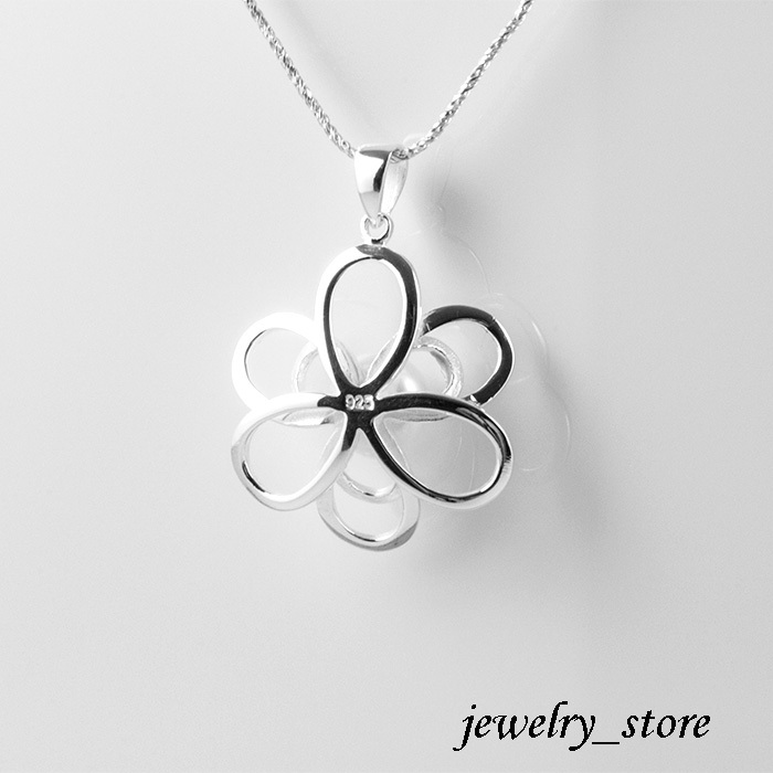 Flower Pendant with Natural White Freshwater Pearl