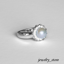 Sterling Silver Ring with Natural White Pearl and Small CZ Stones - $23.95