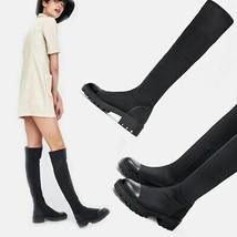 Slim Women Sock Boots Knee High Boots Stretch Fabric Round Toe Spring Autumn ... - $58.05