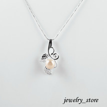 Sterling Silver Leaf Pendant with Natural White Freshwater Pearl - $24.95