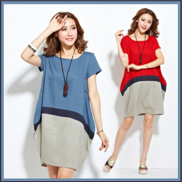 Linen Color Block Expansion Baby Bump Style Dress Casual Comfort Wear