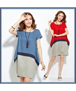 Linen Color Block Expansion Baby Bump Style Dress Casual Comfort Wear - $69.95