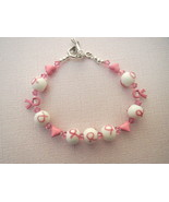 Breast Cancer Awareness Bracelet Glass Ribbon ... - $23.99