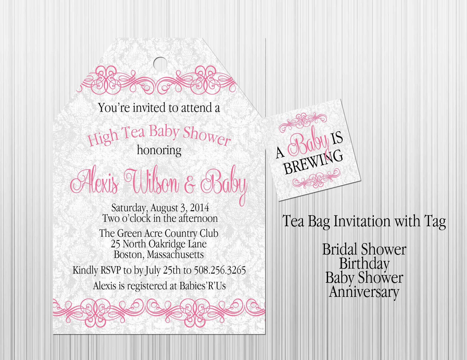 Pink Girl Tea Baby Shower Invitation And 50 Similar Items