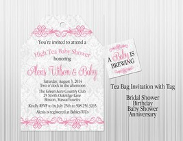 Pink Girl Tea Baby Shower Invitation: Personalized, Tea Bag with Tag Style - $1.25