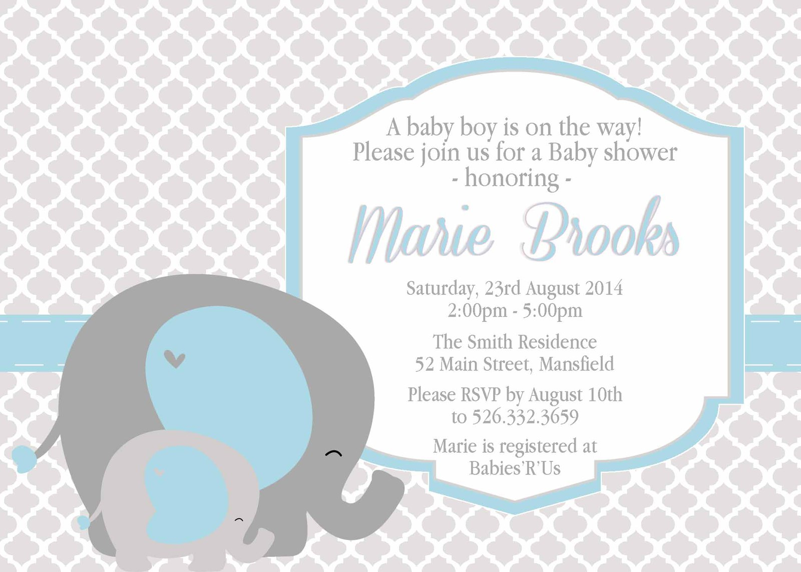Quatrefoil Baby Elephant Custom Baby Shower and 50 similar items